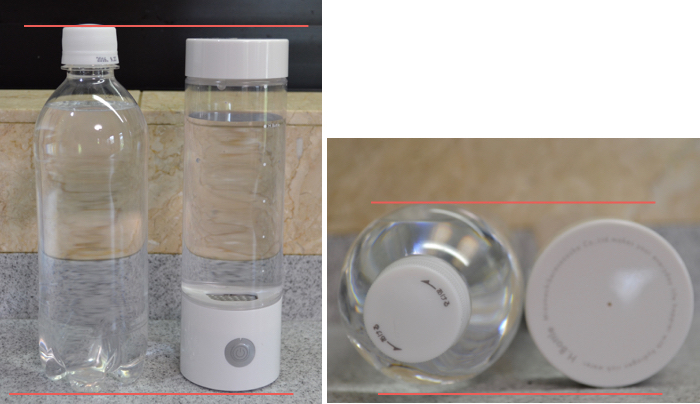 500mlペットボトルとH.Bottleのサイズ比較: