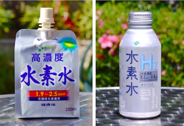 すでに販売されている伊藤園の水素水製品 写真左がキャップ付きアルミパウチタイプ、右がアルミボトルタイプ